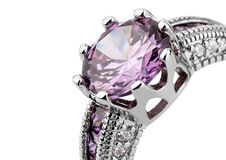 Crop of jewelery ring with gem isolated on white, clipping path. Crop of jewelery ring with gem isolated on white Stock Photos