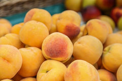 Crop of Peaches. Pile of tasty, orange peaches at a market on the island of Maderia Royalty Free Stock Photos