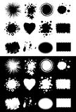 Crop shapes. Collection crop shapes, set black spots, isolated background,computer generated Royalty Free Stock Photo