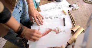 Crop shot of female drawing sketch stock video