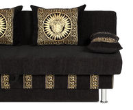 Crop of sofa with Decorative pillow. On white Stock Photo