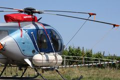 Crop spraying. Helicopter Equipped for Crop Spraying in Vineyards stock images