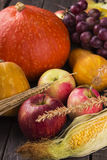 Crop of vegetables and fruit: pumpkin, apples, grapes, corn, whe. At on a wooden background Royalty Free Stock Image