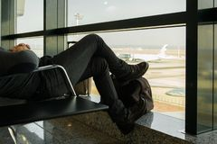 Crop view of man waiting on the airport royalty free stock images