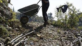 Crop view of young man picks up a wheelbarrow