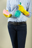 Crop Of Woman With Cleaning Products Royalty Free Stock Photo