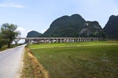 Cropland idylliskt landskap, södra Kina Arkivfoton