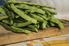 Cropped beans ready to cook. Freshly sliced green beans ready to cook Stock Images