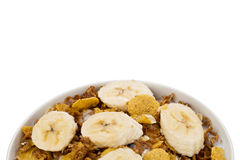 Cropped bowl of cereals with banana Stock Image