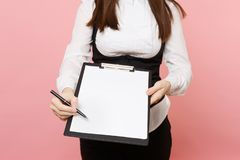 Cropped Business woman in suit give pen for signature on clipboard tablet with blank empty sheet workspace copy space stock photo