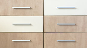 Cropped cabinet with six symmetric drawers Royalty Free Stock Photos