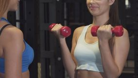 Cropped shot of a professional fitness coach helping her female client at the gym stock video