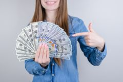 Cropped closeup photo portrait of charming nice positive glad enjoying executive worker employee student know how to make money stock images