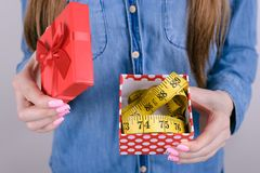 Cropped closeup photo of unhappy shocked amazed sad upset she her lady holding box with tape measure inside she package  royalty free stock image