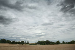 Cropped field with cloudy sky, England Royalty Free Stock Images