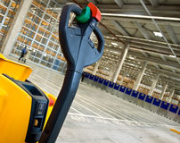 Cropped forklift in warehouse royalty free stock photo