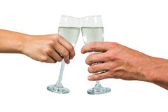 Cropped hand of couple holding champagne flute Royalty Free Stock Photo