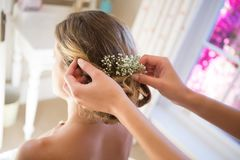 Cropped hands of bridesmaid adjusting bride hair in room Royalty Free Stock Photography