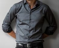 Cropped Head Man in a smart dress shirt royalty free stock photography