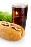 Cropped hotdogs with ketchup with lettuce in the background on w Stock Photo