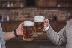 Cropped image of adult son and senior father clinking with beer glasses at home stock image