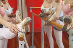 Cropped Image Of Ballerinas With Legs On Bar Stock Photography