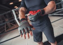 Boxer ready to fight stock photography