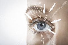 Cropped image of businesswoman with binary digits and arrow signs moving towards her eye against white background Stock Photography