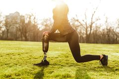 Cropped image of disabled athletic girl in black sportswear, doing lunges and stretching prosthetic leg on grass. Cropped image of disabled athletic girl in royalty free stock images