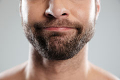 Cropped image of a doubtful bearded mans face Stock Images