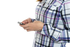 Cropped image of a girl  sending messages Royalty Free Stock Photo