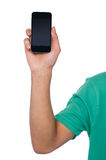 Cropped image of a guy displaying mobile handset Royalty Free Stock Image