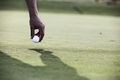 Cropped image of hand holding golf ball over cup stock photos