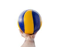 Cropped image of a man hand holding a volleyball ball. Against a white background stock photography