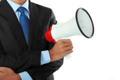 Cropped image of man holding megaphone Stock Image