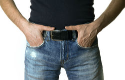 Cropped image of a man in jeans on white background Royalty Free Stock Photography