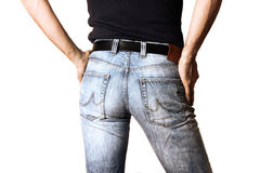 Cropped image of a man in jeans on white background Royalty Free Stock Image