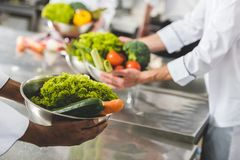 Cropped image of multicultural chefs holding bowls with vegetables. At restaurant kitchen royalty free stock images