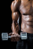 Cropped image of muscular man exercising with dumbbell Stock Images