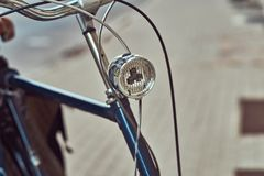 Cropped image of old retro city bicycle on the street. royalty free stock photos