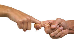 Cropped image of people holding fingers Royalty Free Stock Photography
