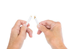 Cropped image of person holding broken cigarette Royalty Free Stock Photography