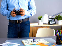 Cropped image of photographer retouching a photo Royalty Free Stock Photo