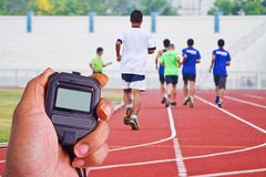 Cropped image of  runner on competitive running Stock Photography