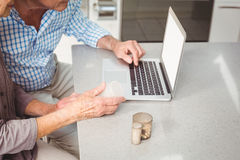 Cropped image of senior couple searching for pills on laptop Royalty Free Stock Photos
