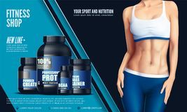Cropped image of sexy beautiful young sportswoman in the sport tights and the bra, and set of bottles with sport nutrition. Vector Stock Image