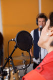 Cropped Image Of Singer Performing In Studio Stock Photography