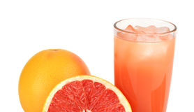 Cropped image sliced two grapefruits with juice isolated white Stock Image