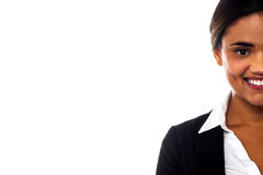 Cropped image of smiling corporate lady Stock Photo