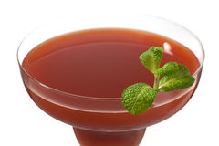 Cropped image of strawberry juice in martini Stock Photos